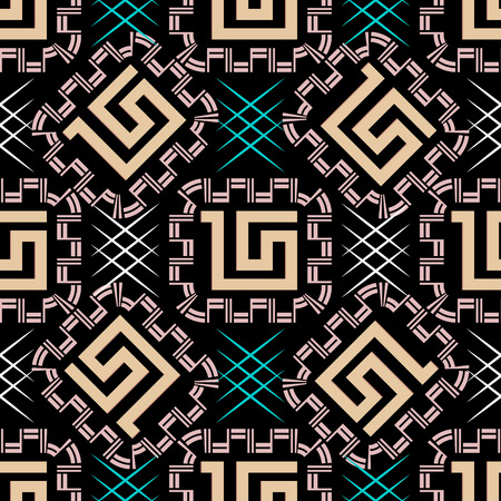 Geometric vector seamless pattern. Greek style ornaments. Abstract patterned background with geometric shapes, zigzag, squares, frames, stripes. Modern ornamental design. For fabric, textile, prints