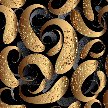 3d vector paisley seamless pattern. Modern patterned abstract background. Textured gold paisley flowers with dots, circles, halftone. Ornamental surface texture. Decorative design for wallpaper, print