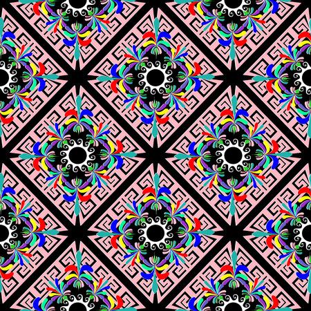 Vintage floral greek seamless pattern. Colorful vector geometric background. Abstract greek flowers, rhombus, frames. Bright patterned design. Greek key meander ornament. Spring, summer motif