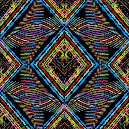Striped tribal embroidery vector seamless pattern. Geometric abstract tapestry ethnic background. Grunge stripes, lines, rhombus frames, embroidered tribe floral ornaments 矢量图像