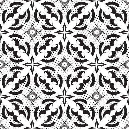 Black and white abstract vector seamless pattern. Monochrome dotted greek key meander background. Vintage arabesque flowers, shapes, lines, circles, polka dots, halftone, geometric elements.  イラスト・ベクター素材