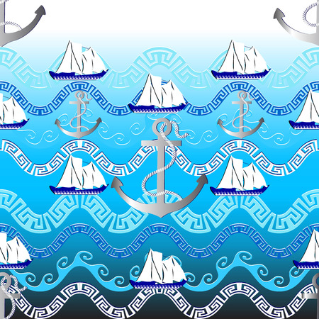 Marine greek vector seamless pattern. Light blue nautical background. Abstract sea waves, anchors with rope, sailboat, greek key, meander wavy borders. Geometric design. Design for travel, fabric