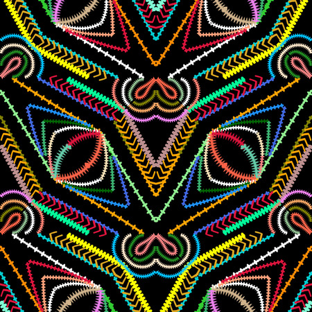 Striped geometric vector seamless pattern. Abstract colorful geometrical background. Tribal style ornamental stripes, lines, shapes, eyes, zigzag. Ethnic geometry design. Patterned aztec tracers