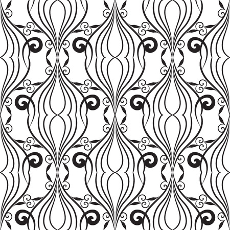 Vintage line art tracery black and white seamless pattern. Abstract floral isolated background. Hand drawn swirl lines, flowers, leaves, shapes. Monochrome endless texture. Design for fabric, prints Vectores