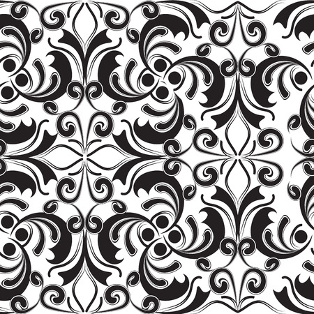 Patrón transparente vintage hermoso blanco y negro barroco. Fondo floral monocromático abstracto del vector. Dibujado a mano líneas de arte tracería flores, hojas, remolinos, líneas, formas, adornos de estilo damasco.