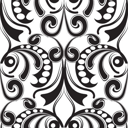 Baroque black and white seamless pattern. Monochrome floral abstract background. Vintage hand drawn baroque flowers, leaves, swirls, lines, polka dots, circles. Ornate beautiful design for fabric Vectores