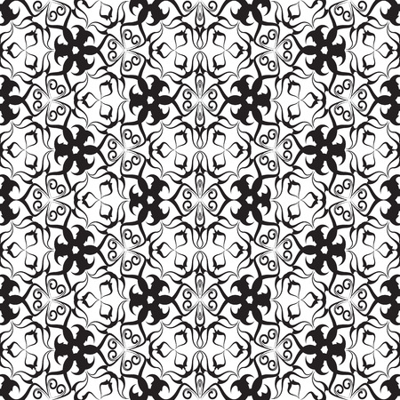Black and white vintage vector seamless pattern. Ornamental abstract ethnic style monochrome background. Hand drawn floral ornaments with swirls, flowers, leaves, lines, curves. Isolated template. Vectores
