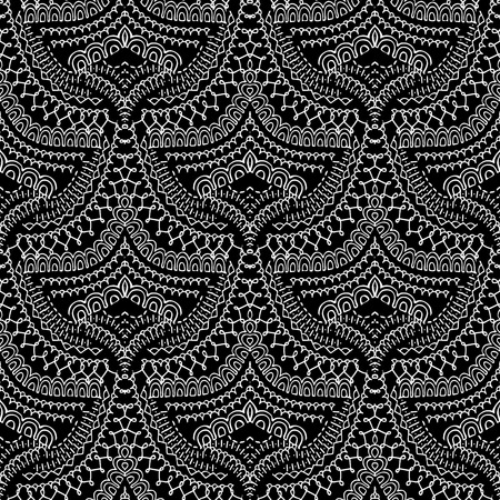 Lace ethnic style seamless pattern. Black and white abstract ornamental background. Patterned design with line art tracery doodle elegance stitch ornaments. Vintage floral texture. Perfect for fabric Vectores
