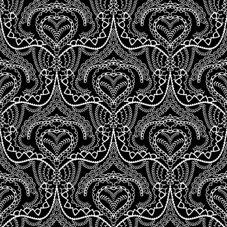 Lace ethnic style seamless pattern. Black and white abstract ornamental background. Patterned design with line art tracery doodle elegance stitch ornaments. Vintage floral texture. For fabric, prints Vectores