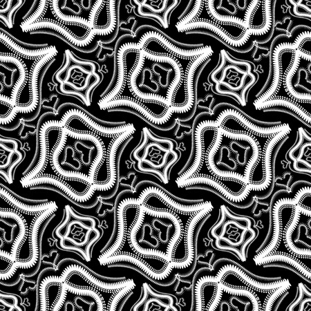 Abstract vintage black and white vector seamless pattern. Ornamental ethnic style abstract monochrome background. Floral lace ornaments with love hearts, shapes, lines, swirls, flowers. Isolated