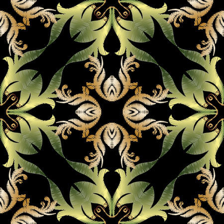 Embroidery baroque vector seamless pattern. Floral grunge vintage background. Tapestry wallpaper. Arras damask flowers, scroll branches, leaves, gold green  baroque ornaments. Embroidered texture. Illustration