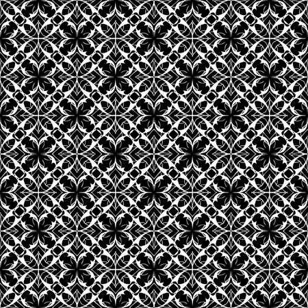Lace floral seamless pattern. Vector black and white lacy background. Elegance ornament.