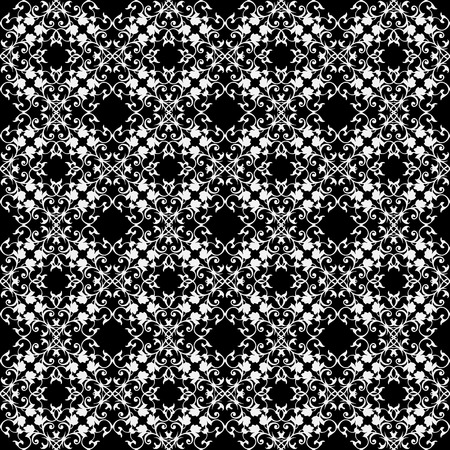 Baroque lace vector seamless pattern. Black and white vintage lacy damask background. Elegance delicate antique ornaments. Design for fabric, textile, printing, cards, curtains.