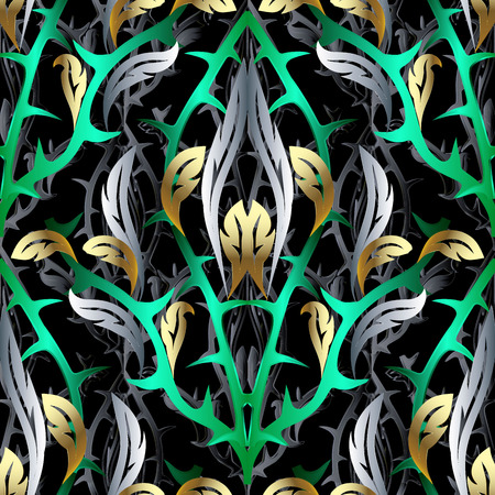 Abstract 3d vector seamless pattern. Floral background with fantasy flowers, plants, leaves, barbed prickles , thorns, spikes, barbs, pikes. Abstract terrible dangerous forest. Hairy wood.