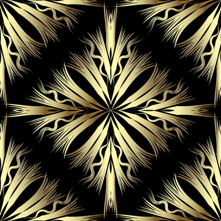 Gold abstract 3d vetor seamless pattern. Modern trendy background. Radial striped shapes, lines, waves.  Surface texture. Ornamental geometric stylish design for wallpapers, panel, fabric, prints