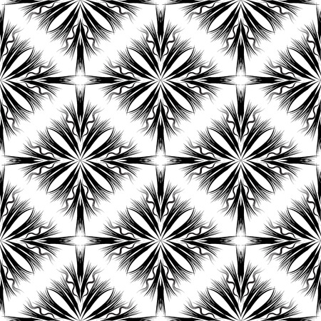 Modern creative abstract geometric seamless pattern. Black and white monochrome background. Radial shapes, stripes, lines, waves. Beautiful trendy ornaments. Isolated endless texture. Vector design