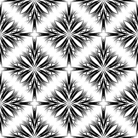 Modelo inconsútil geométrico abstracto creativo moderno. Fondo monocromático blanco y negro. Formas radiales, rayas, líneas, ondas. Hermosos adornos de moda. Textura sin fin aislada. Diseño vectorial