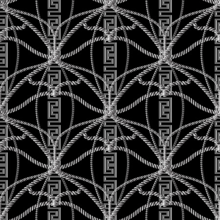 Abstract rope greek vector seamless pattern. Vintage twisted strings background. Vertical greek key meander borders. Braided knots geometric ornaments. Decorative design. Surface dark grey texture Illustration