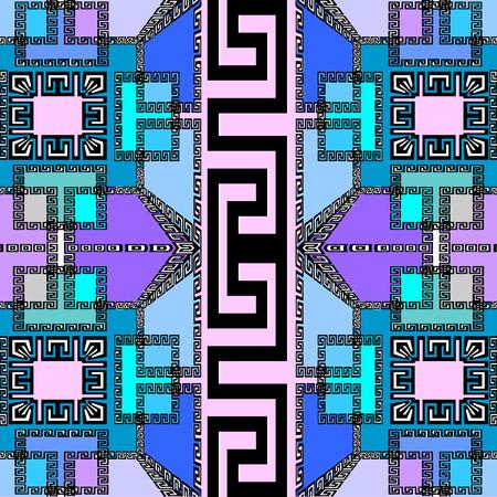 Stylish elegant geometric vector seamless pattern. Modern abstract geometrical background. Ornamental geometry backdrop. Beautiful violet, purple, blue shapes, squares, greek key, meanders ornament. Illustration