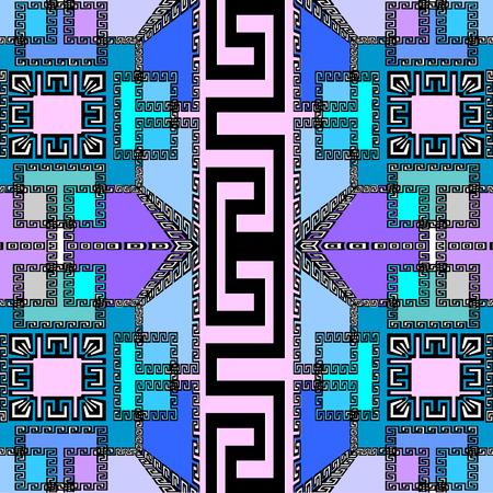 Stylish elegant geometric vector seamless pattern. Modern abstract geometrical background. Ornamental geometry backdrop. Beautiful violet, purple, blue shapes, squares, greek key, meanders ornament. Çizim