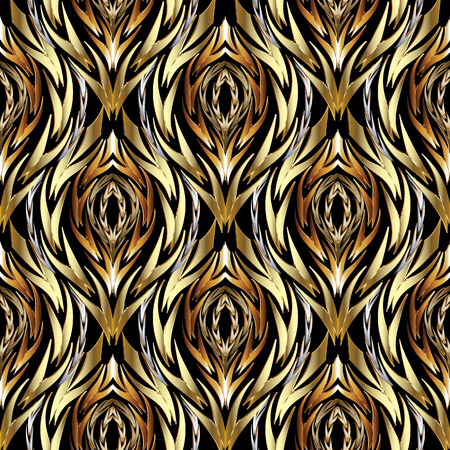 Gold abstract textured vector seamless pattern. Patterned ornamental wavy background. Decorative vintage ornaments. Wavy braided twisted shapes. Creative design for fabric, wallpapers, textile, prints