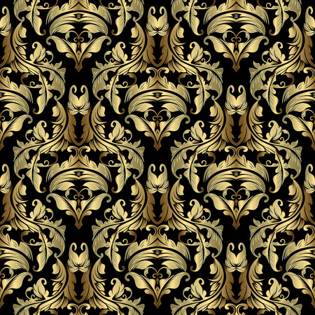 Gold Baroque vector seamless pattern. Ornate antique damask background. Elegant vintage floral ornaments in baroque Victorian style. Golden decorative rococo flowers, scroll leaves, curves, lines