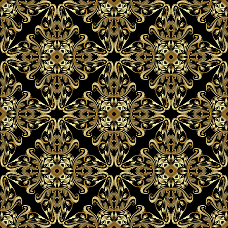Gold Baroque seamless pattern. Vintage vector damask background.