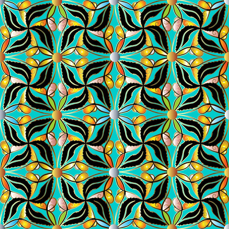 Decorative floral vector seamless pattern.