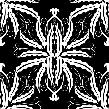 Floral vintage seamless pattern. Vector monochrome black and white baroque background. Damask ornaments. Hand drawn design. Template for fabric, textile.