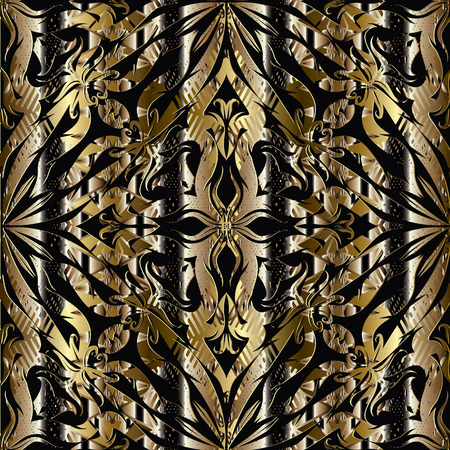 3d abstract floral gold black seamless pattern. Striped ornamental vintage background. Ornate textured design. Grunge ornaments with flowers, leaves, stripes, lines, dots. Luxury wallpaper, fabric