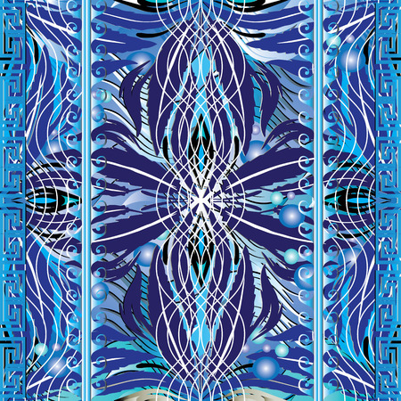 Greek marine seamless pattern. Blue ornamental floral backround with water, waves, wavy lines, vertical greek key meander borders, flowers, leaves, bubbles, geometric abstract ornaments. Ornate design