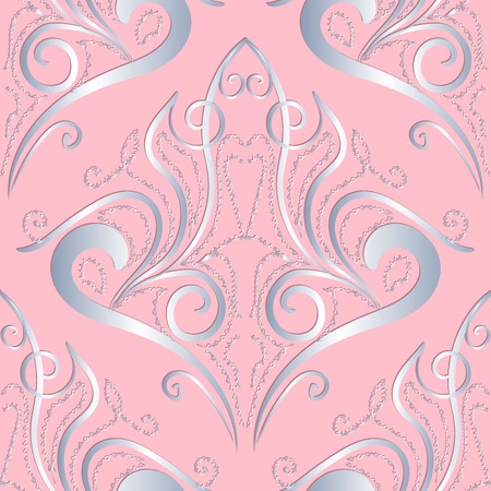 Light pink vintage damask seamless pattern. Ornate patterned floral background. Hand drawn delicate silver lace 3d ornament. Beautiful line art tracery flowers, swirls, lines, leaves. Endless texture