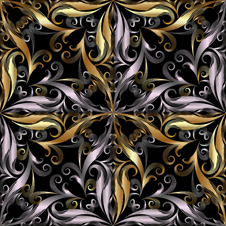 Ornamental vintage 3d seamless pattern. Black patterned vector damask background. Endless texture. Hand drawn floral line art tracery gold silver ornament with abstract flowers, striped leaves, swirls Vectores