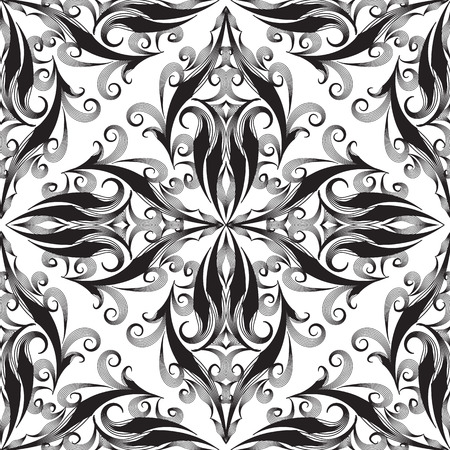 Elegance damask seamless pattern. Vector black and white monochrome decorative background. Vintage hand drawn line art tracery antique ornaments. Floral patterned ornate design. For fabric, printing