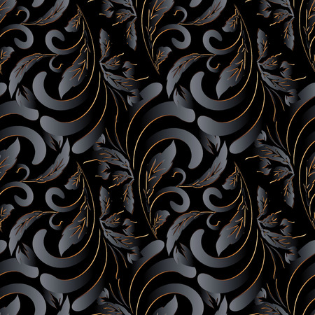 Dark black 3d vintage floral seamless pattern. Surface ornamental patterned background. Hand drawn damask flowers, leaves. Decor elements with shadow and highlight. Modern beautiful design. Wallpapers Foto de archivo