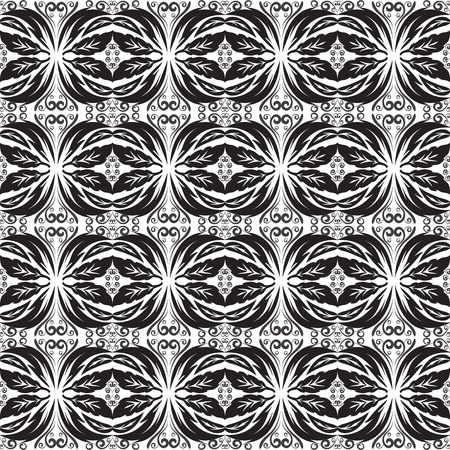 Black and white baroque seamless border battern. Vector ornamental monochrome vintage background. Abstract hand drawn lace floral  ornaments in baroque victorian damask style. Leafy design for fabric