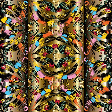 3d modern gold vintage seamless pattern. Vector colorful floral ornamental background. Surface repeated texture. Beautiful abstract interesting ornaments with shadows and highlights. For wallpapers, Foto de archivo