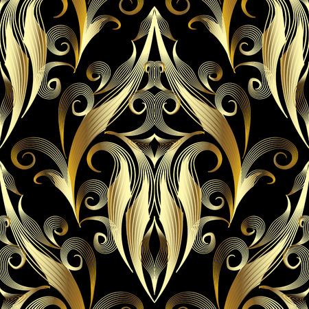 Patrón transparente de oro damasco 3d. Vector de fondo ornamental vintage. Dibujado a mano adorno de damasco de tracería de arte de línea de estilo antiguo. Textura estampada de elegancia. Diseño floral dorado para papeles pintados, tela.