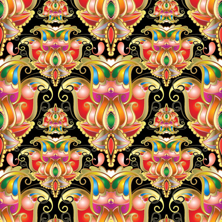Ethnic style colorful paisley seamless pattern. Beautiful orname