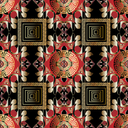 Modern greek seamless pattern. Vector ornamental black red gold  イラスト・ベクター素材