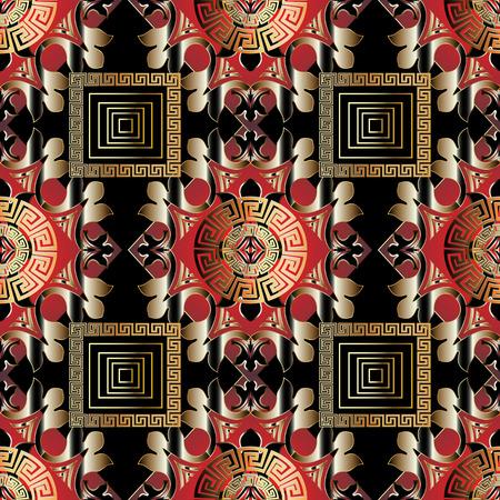 Modern greek seamless pattern. Vector ornamental black red gold Illustration