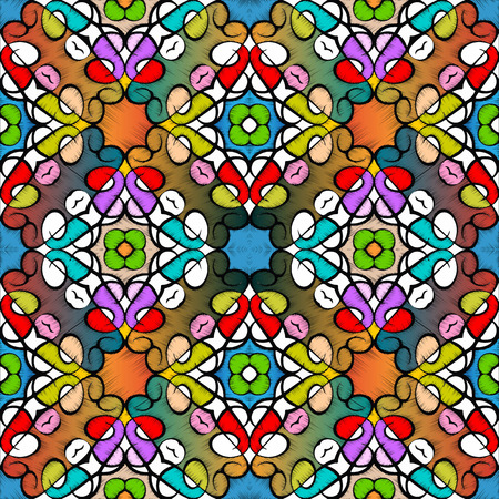Ethnic embroidery style floral colorful seamless pattern. Vector 免版税图像 - 102514808