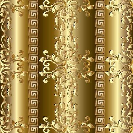 Gold Baroque seamless pattern. Greek ornaments.