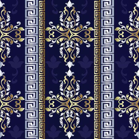 Baroque striped seamless pattern. Greek ornaments.