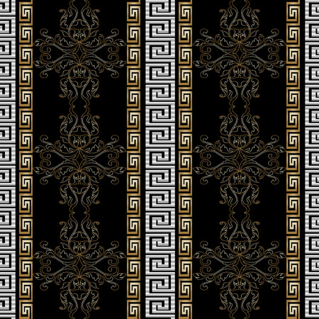 Greek seamless pattern with Baroque ornaments. Standard-Bild - 102513854