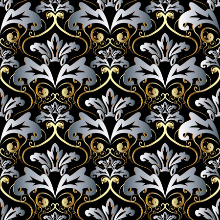 Vintage gold silver 3d Baroque seamless pattern.