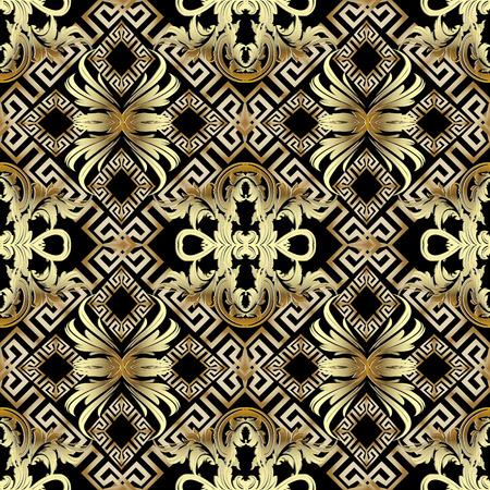 Baroque gold 3d seamless pattern. Greek vintage background.