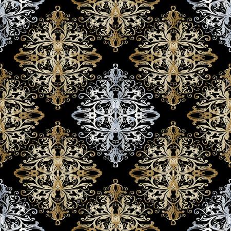 Patrón transparente barroco oro plata. Fondo floral vintage.