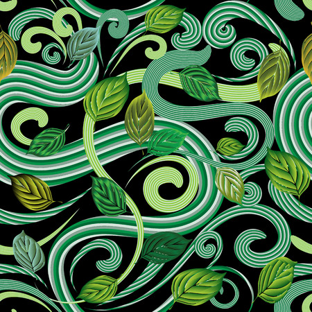 Abstract green leaves seamless pattern.