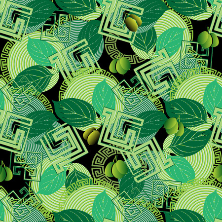 Green olives floral greek style seamless pattern.